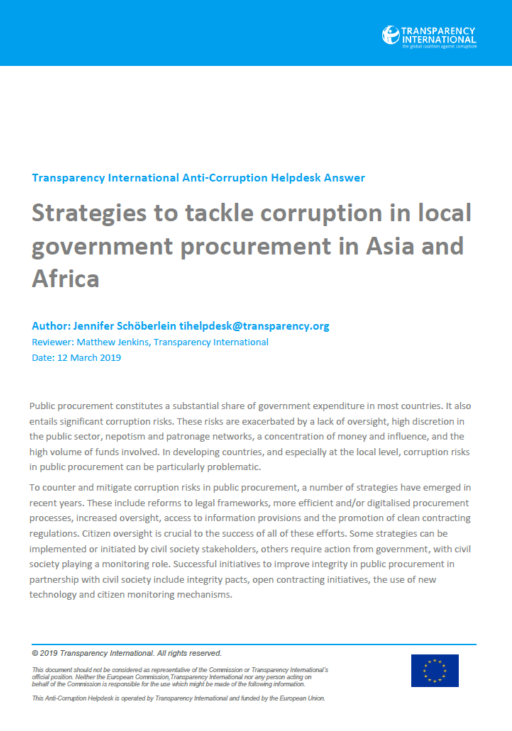 Strategies to tackle corruption in local government procurement in Asia and Africa