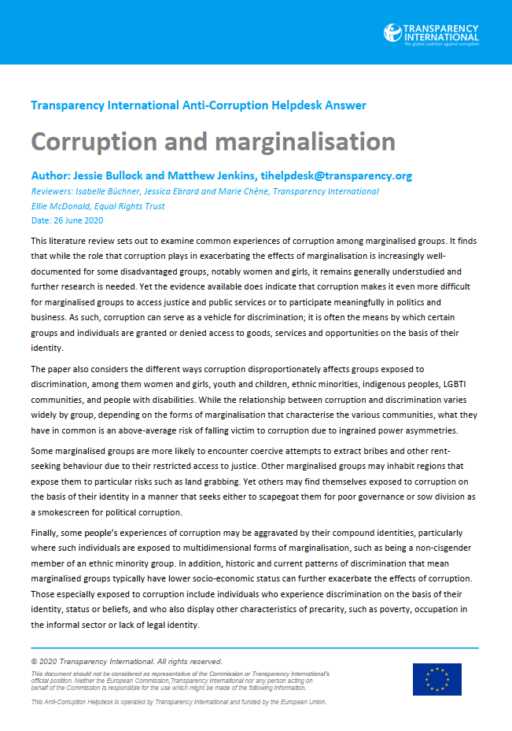 Corruption and marginalisation