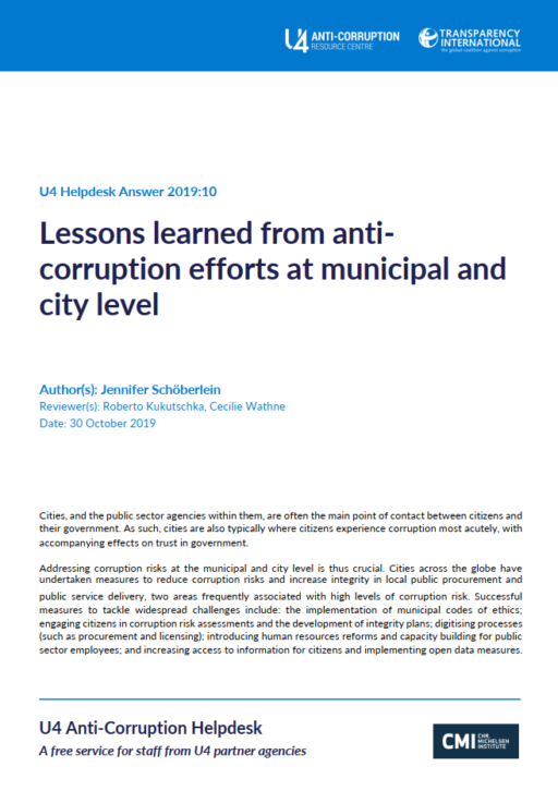 Lessons learned from anti-corruption efforts at municipal and city level