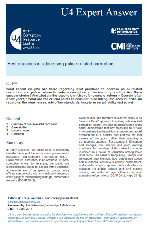 Best practices in addressing police-related corruption