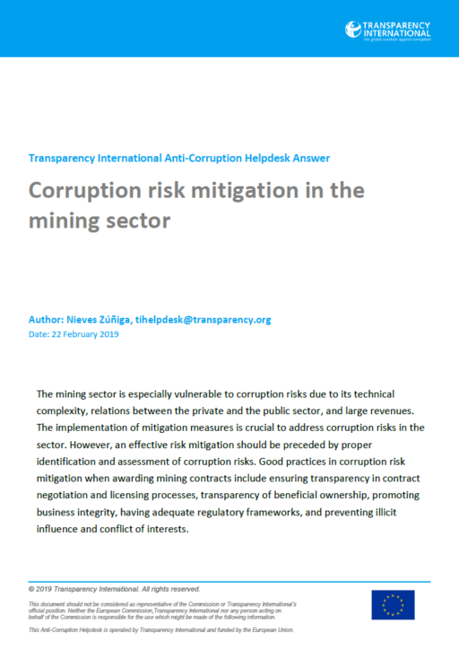Corruption risk mitigation in the mining sector