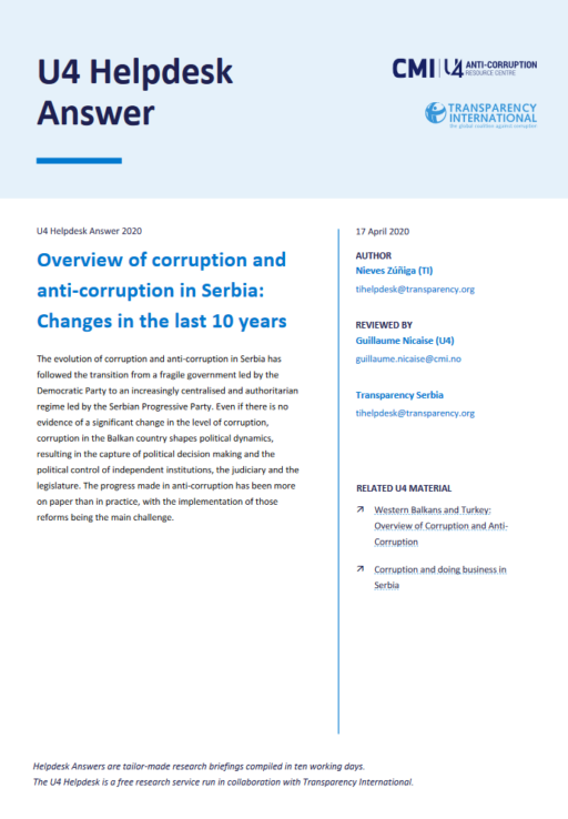 Overview of corruption and anti-corruption in Serbia: Changes in the last 10 years