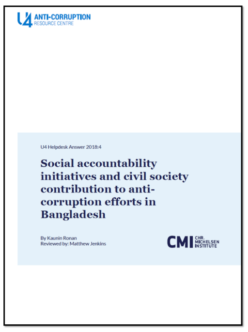 Social accountability initiatives and civil society contribution to anti-corruption efforts in Bangladesh