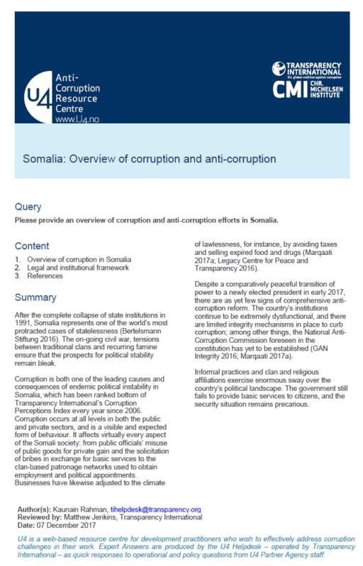 Somalia: Overview of corruption and anti-corruption
