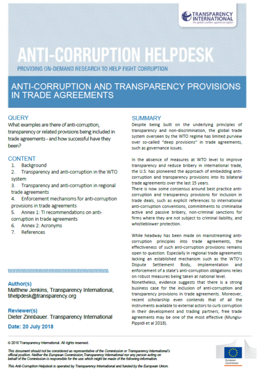 Anti-corruption and transparency provisions in trade agreements