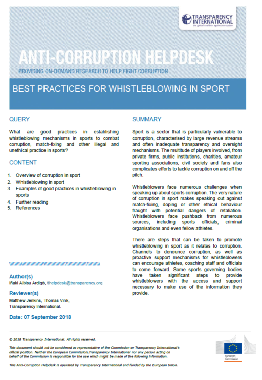 Best practices for whistleblowing in sport