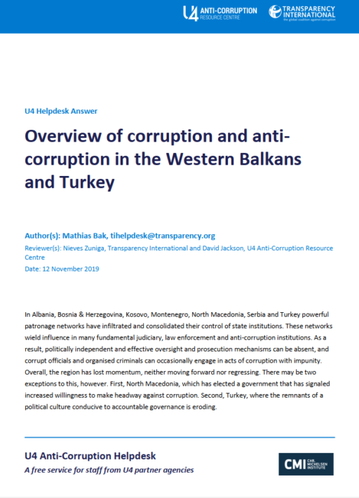 Overview of corruption and anti-corruption in the Western Balkans and Turkey