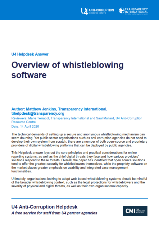 Overview of whistleblowing software